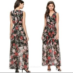 Disney Beauty and the Beast Floral Maxi Dress Lg